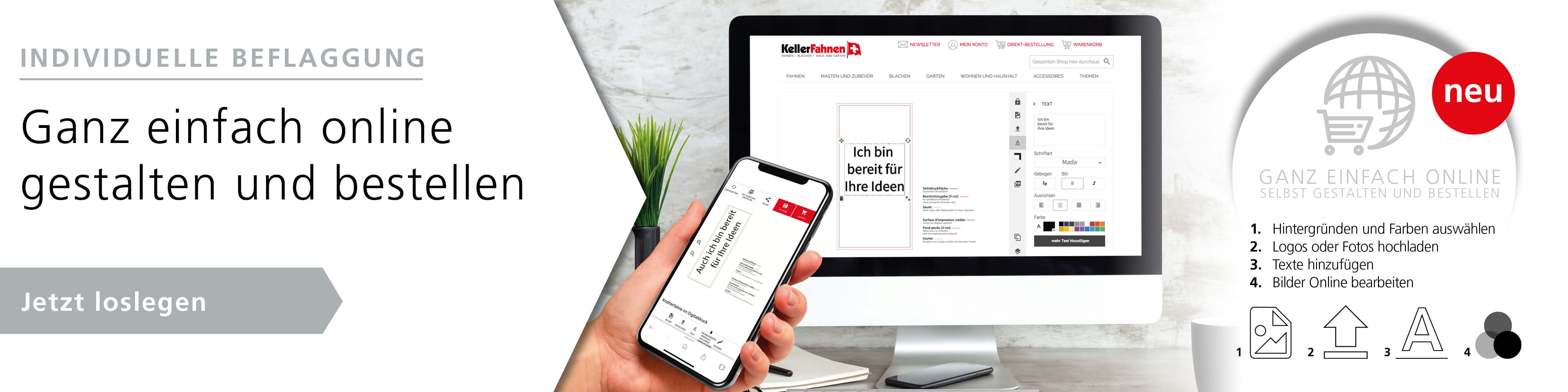 Werbe- und Firmenfahnen - ganz einfach online gestalten