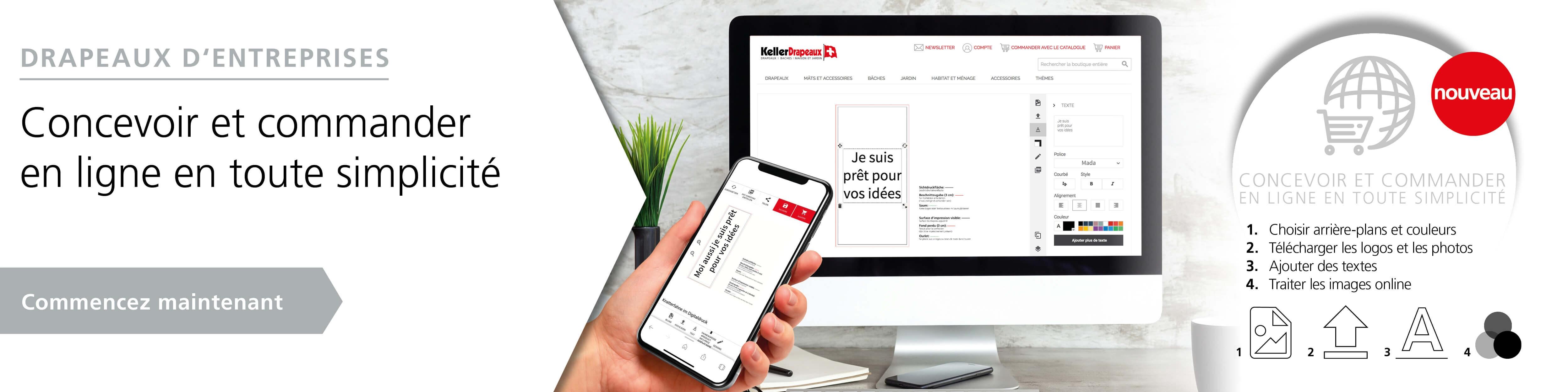 Drapeaux d' entreprises - concevoir et commander en ligne en tout simplicité