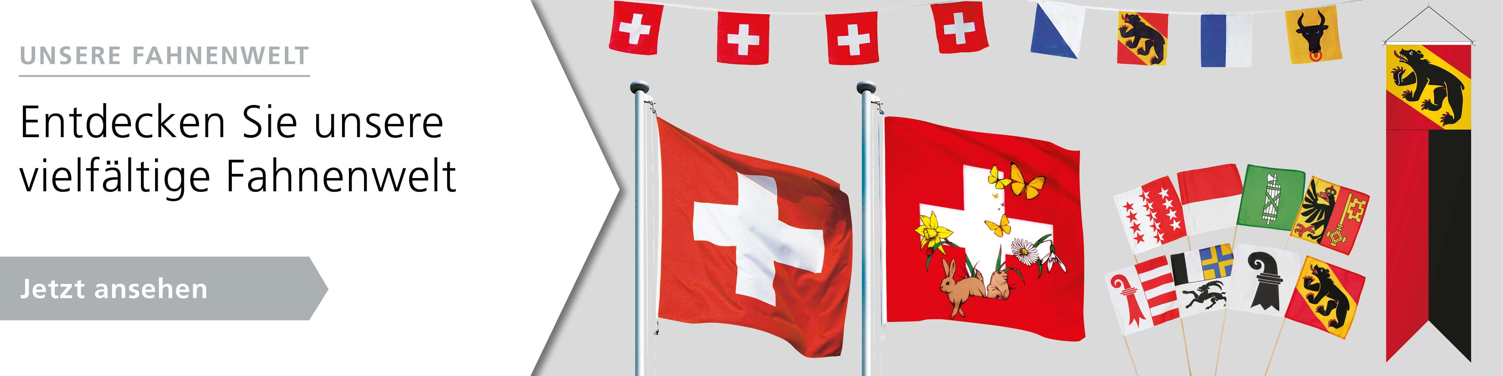 Unsere Fahnenwelt: Schweizerfahnen, Kantonsfahnen, Gemeindefahnen, Länderfahnen und viele mehr