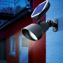 LED Solar Spotlicht mit Alugehäuse, mit kalt-weissem LED