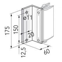 Nischen- bzw. Seitenwinkel für Griff-Arretierung für Wand/Geländer