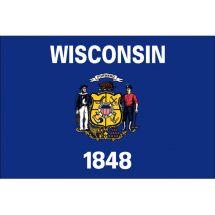 Fahne Bundesstaat Wisconsin USA Polyester 75x50 cm