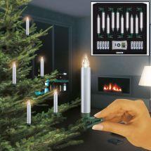 LED Christbaumkerzen normal «Deluxe» Basis-Set, silber, Batteriebe