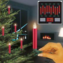 LED Christbaumkerzen normal «Deluxe» Basis-Set, rot, Batteriebe