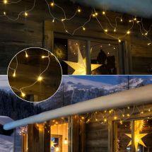 LED Dachrinnenkette mit 96 sunny-warmen LED, 5,4 m breit
