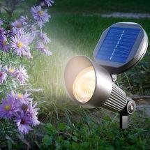 LED Solar Spotlicht mit Alugehäuse, mit warm-weissem LED