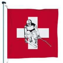 Schweizerfahne «Ski» Superflag® 150x150 cm