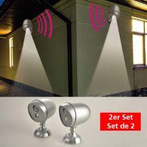 LED Aussenlicht-Strahler mit Bewegungssensor, 2er Set