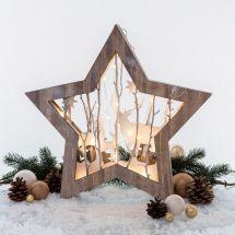 LED Diorama «3D» mit LED Beleuchtung «Stern mit Hirsch Design»