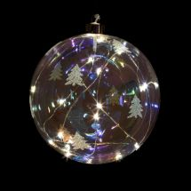 Glas-Kugel «Tanne» mit warm-weissen LED