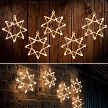 LED Acryl Sternenvorhang mit 5 Sternen