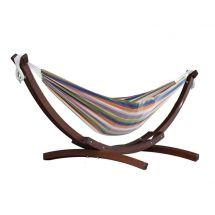 Hängematte mit hochwertigem Holzgestell «Multicolor»