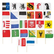 Kantonsfahnen am Holzstab alle Kantone