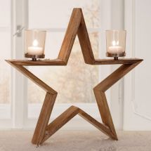 Windlicht «Wood & Star»