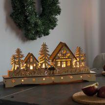 LED Dorf mit Schneemann und Rentier «Natur»