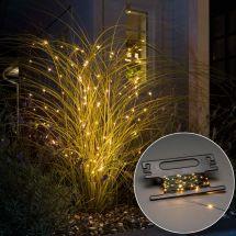 LED Lichterkette «Angel-Hair» mit sunny-warmen LED Tropfen, grüner Draht