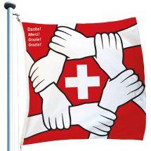 Drapeau spécial «Solidarité Suisse» Superflag® 120x120 cm