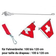 Stabilisateur pour drapeaux avec pièce de raccordement  rouge 900/28 mm