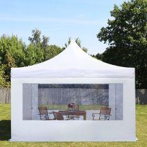 Faltpavillon, 4×4 Meter, «Professional» mit Seitenteile weiss