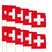 Drapeau Suisse avec hampe en bois   10 pcs