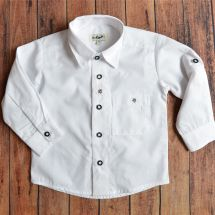 Kinder Hemd «Jodler», weiss Baumwolle 68