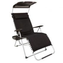 Chaise de relaxation avec auvent et rembourrage noir