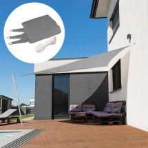 Voile solaire triangle «Capri», gris, avec 225 g/m² tissu HDPE