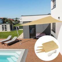 Voile solaire triangle «Capri», champagne, avec 225 g/m² tissu HDPE