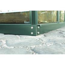 Fundament für Anlehngewächshäuser, grün pulverbeschichtet