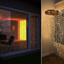 LED Lichtervorhang «Angel Hair» mit 256 warmweissen LED Tropfen