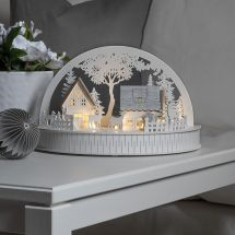 LED Holzsilhouette «Haus & Rentier», Batteriebetrieb grau/weiss