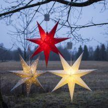 Dreidimensionale Deko-Weihnachtssterne, Batteriebetrieben, Ø 60 cm