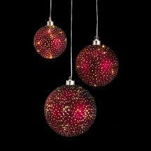Glasball-Set «Glamour», rot, 3er Set, batteriebetrieben