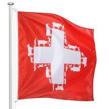 """Drapeau Suisse """"Monté à l'alpage"""" Superflag® 150x150 cm"""