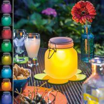 Solar LED Einmachglas mit Farbwechsler «Satin Glas»