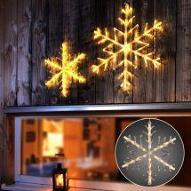LED Schneeflocke Ø 40 cm mit 24 warm-weissen LED -Batteriebetrieb-