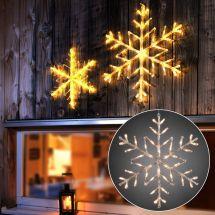 LED Schneeflocke Ø 60 cm mit 42 warm-weissen LED -Batteriebetrieb-