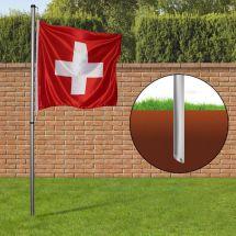 Mât Smart avec un drapeau suisse en polyester 80×80 cm