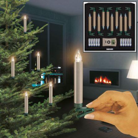 LED Christbaumkerzen normal «Deluxe» Basis-Set, cashmere, batterieben