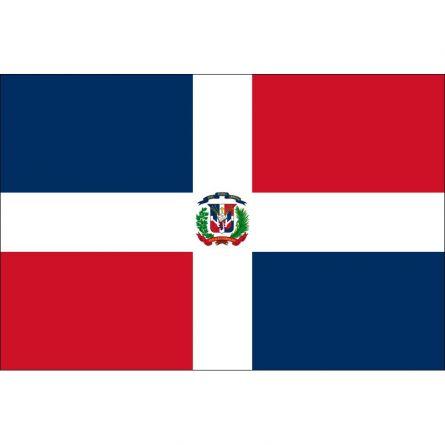 Länderfahne Dominikanische Republik mit Wappen