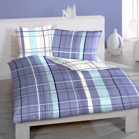 Bettwäsche «Jome» blau, Seersucker