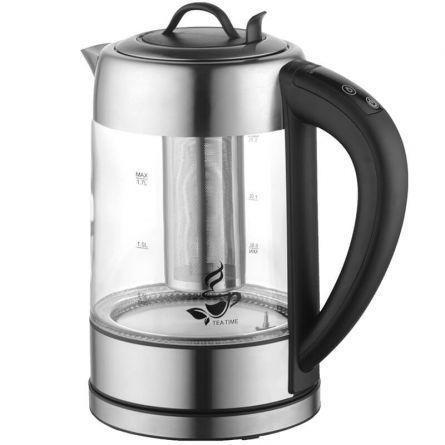 """Bouilloire avec éclairage LED et filtre à thé """"Verre"""