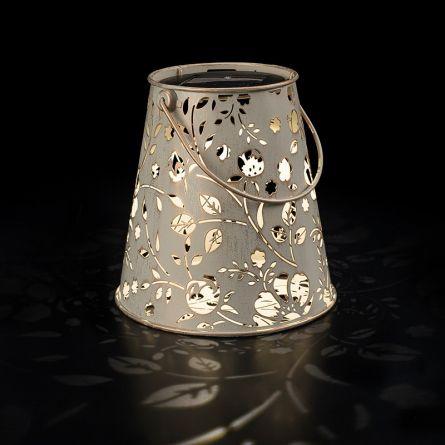 Lanternes solaires à LED «Fleur Antique» avec support white