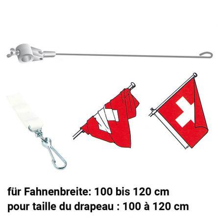 Fahnenstabilisator mit Verbindungsstück weiss 900/28 mm