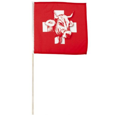 Schweizerfahne Kuh an Holzstab 30x30 cm