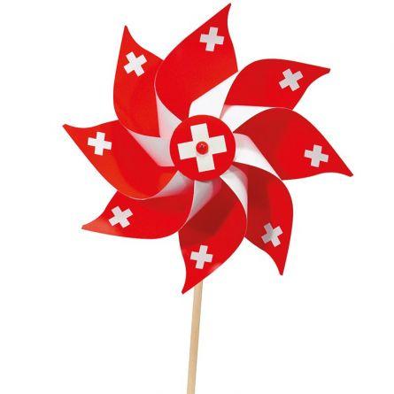 Windrad Schweiz an Holzstab 5er Set