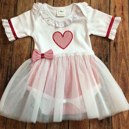Body bébé «Coeur avec tulle», rouge-blanc