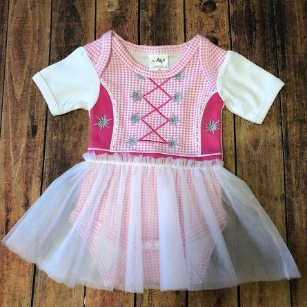 Body bébé «Dirndl», rose et blanc