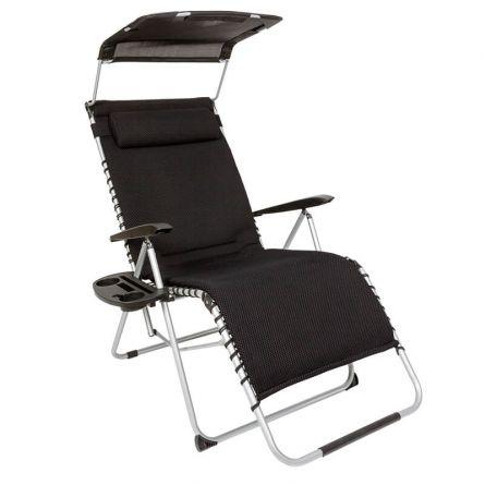 Relax Chair mit Sonnendach und Polsterung schwarz