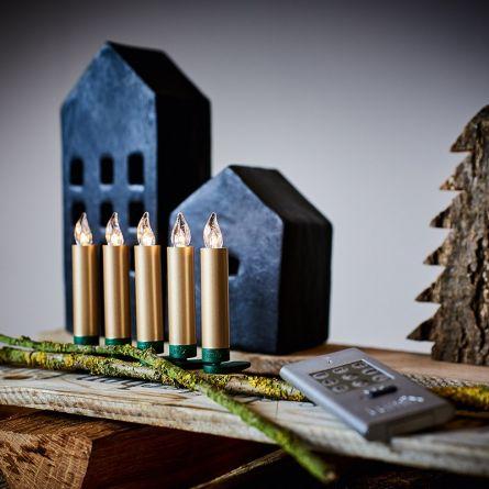 LED Christbaumkerzen «DELUXE mini» gold, batteriebetrieben